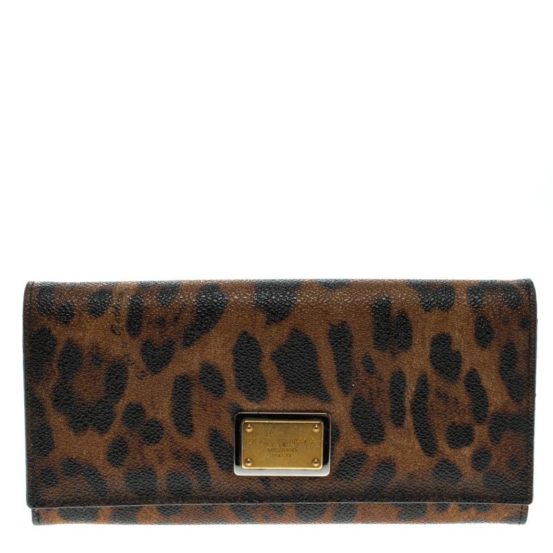 Купить со скидкой Dolce and Gabbana Brown Leopard Print Leather Dauphine Continental Wallet
