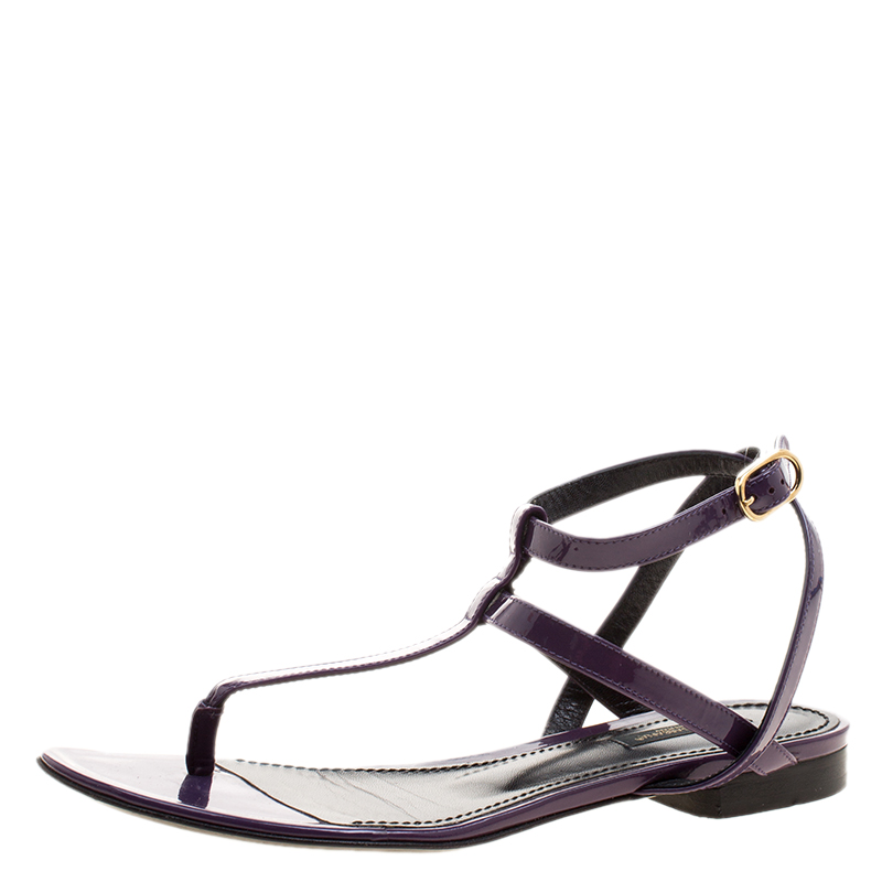 4d95103b6 Buy Dolce and Gabbana Purple Patent Leather Flat Thong Sandals Size ...