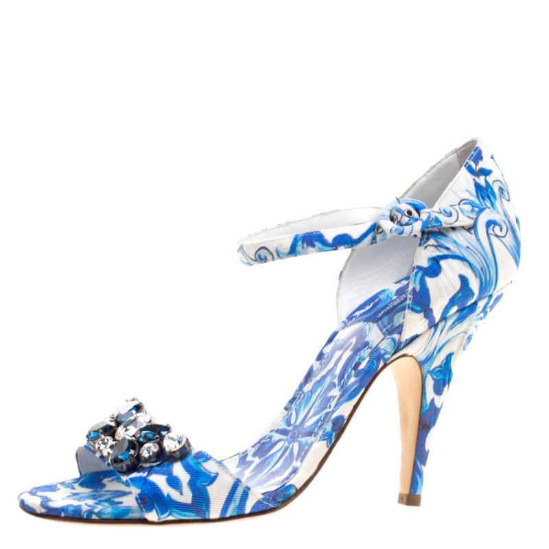 eff391956251 Buy Dolce and Gabbana Blue Crystal Embellished Majolica Printed ...