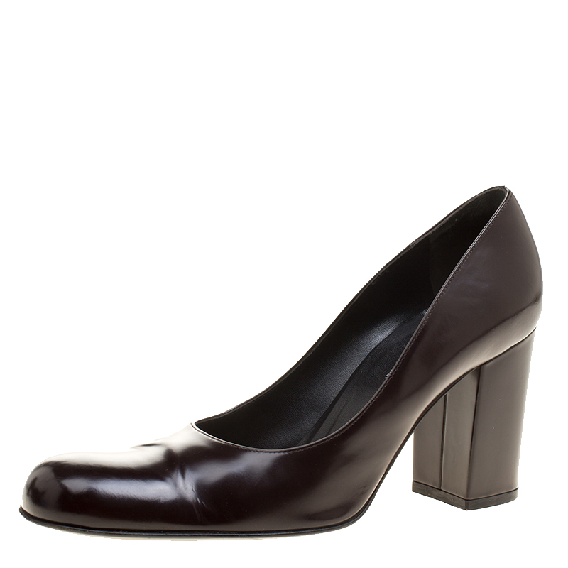 e9f039af0b51 ... Brown Patent Leather Block Heel Pumps Size 38. nextprev. prevnext