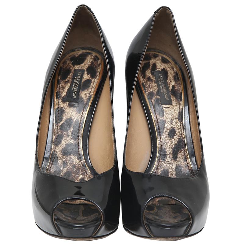 955373d74460 ... Black Patent Leather Peep Toe Platform Pumps Size 39. nextprev. prevnext