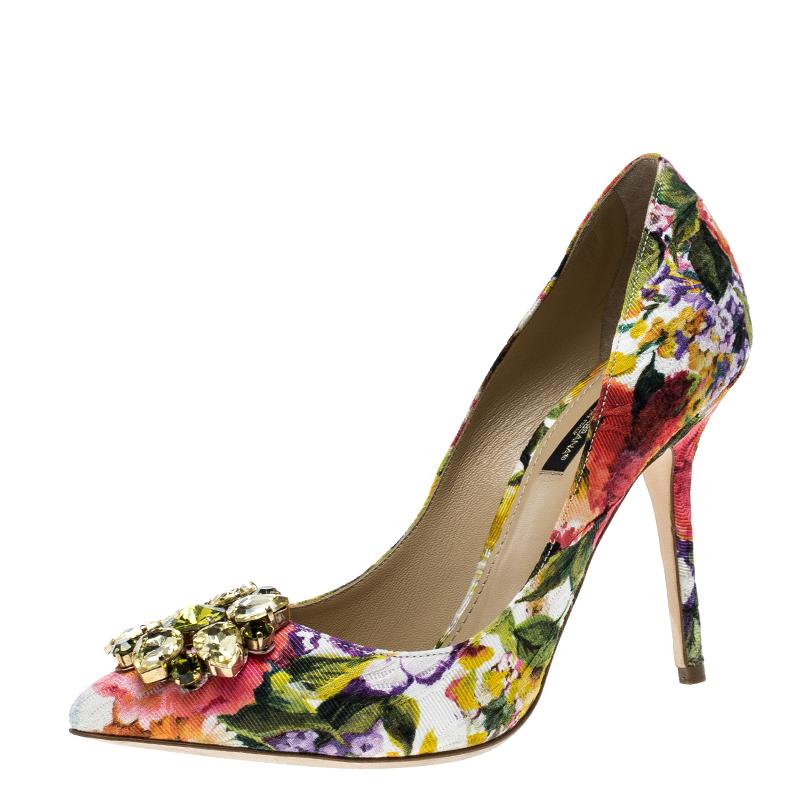 80f742824188 ... Dolce and Gabbana Multicolor Floral Print Fabric Crystal Embellished  Pumps Size 37.5. nextprev. prevnext