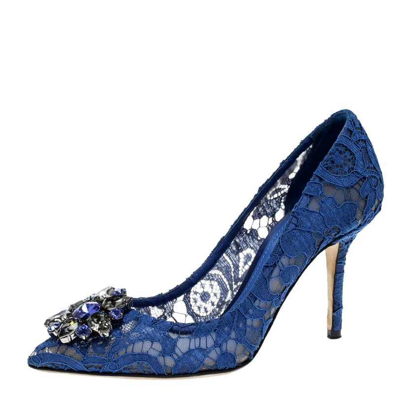 19e899be20cb ... Lace Bellucci Crystal Embellished Pointed Toe Pumps Size 37.5.  nextprev. prevnext