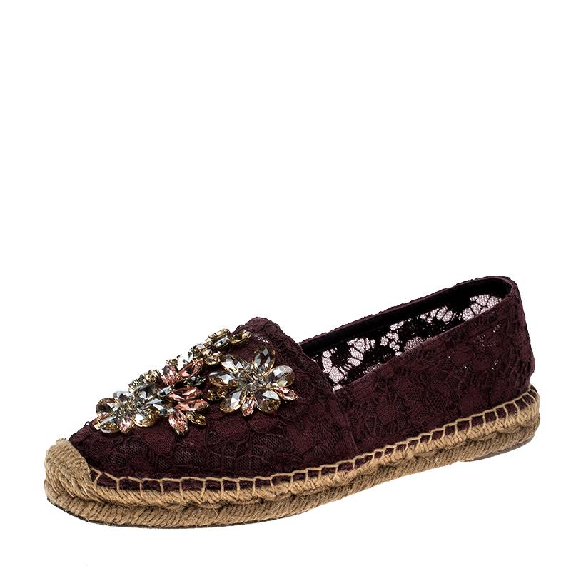 d66229942 Buy Dolce and Gabbana Burgundy Lace Crystal Embellished Espadrilles ...