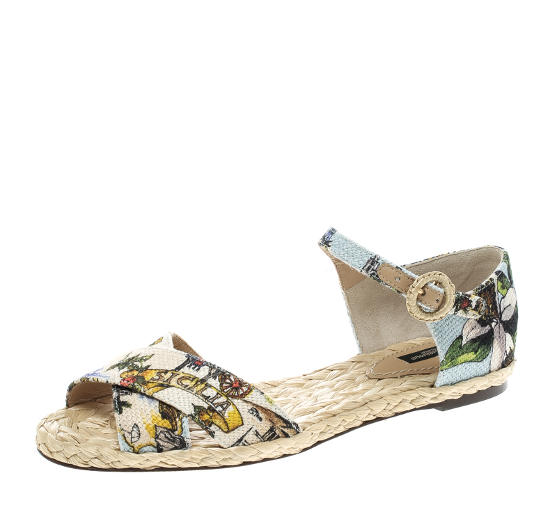 Dolce and Gabbana Multicolor Printed Canvas Espadrille Ankle Strap Sandals Size 38