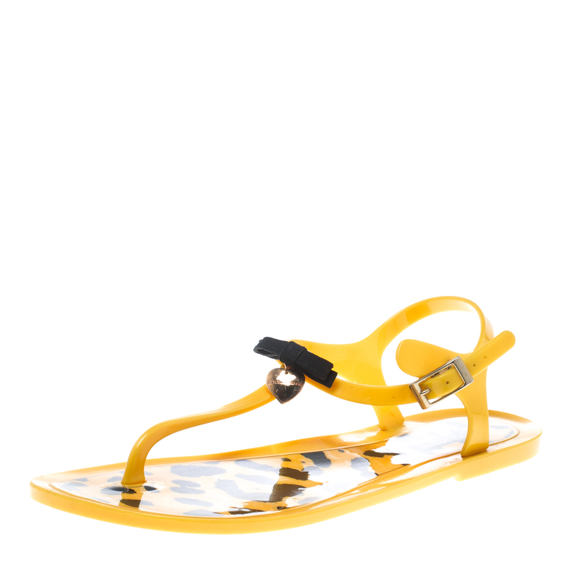 af4783950 Buy Dolce and Gabbana Yellow Jelly Bow Thong Flat Sandals Size 40 ...