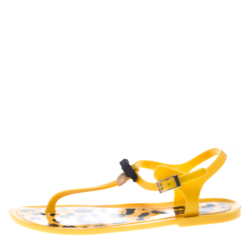 Купить со скидкой Dolce and Gabbana Yellow Jelly Bow Thong Flat Sandals Size 40