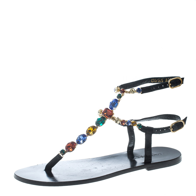 74cb83c31 Buy Dolce and Gabbana Multicolor Crystal Embellished Ankle Strap ...