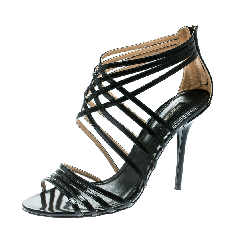7208f68d3df8f Buy Dolce and Gabbana Black Leather Strappy Sandals Size 40 174018 ...