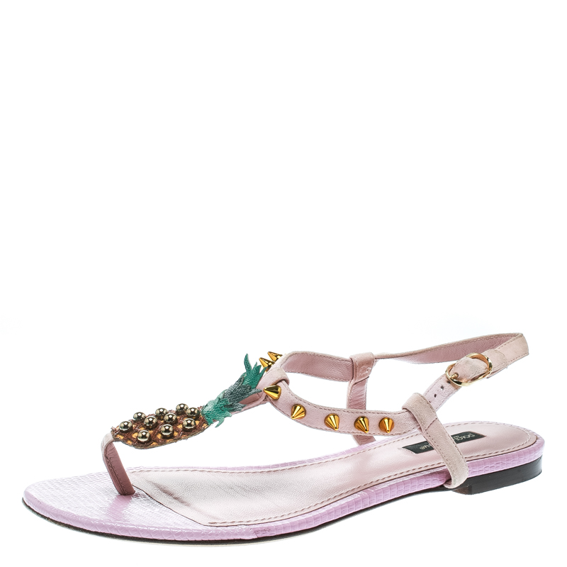 4e8b95f37 Buy Dolce and Gabbana Pink Suede Pineapple Detail Ankle Strap Thong ...