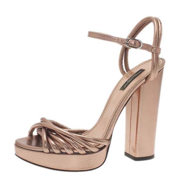 eafcf456688 ... Dolce and Gabbana Bronze Leather Block Heel Platform Sandals Size 39.  nextprev. prevnext