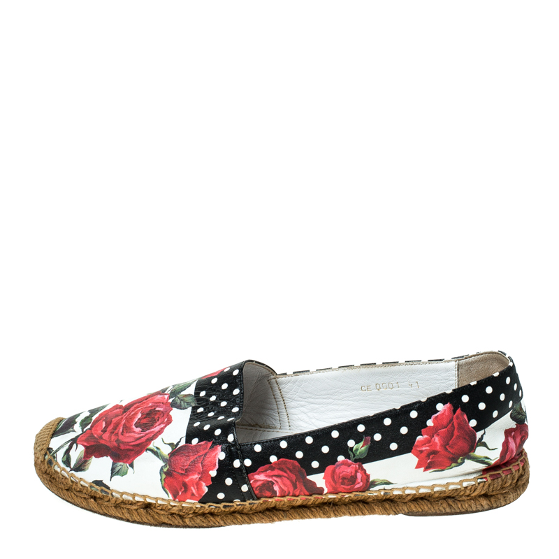 Dolce & Gabbana / Dolce & Gabbana Multicolor Floral Print Leather Espadrille Flats Size 41