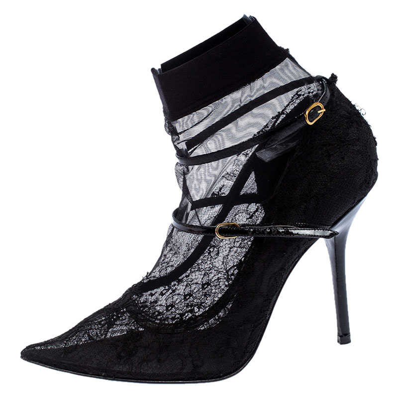 Dolce y Gabbana Negro de Encaje Y el Estiramiento de la Tela de Malla Calcetín Mary Jane Punta del Dedo del pie Bombas de Tamaño 41