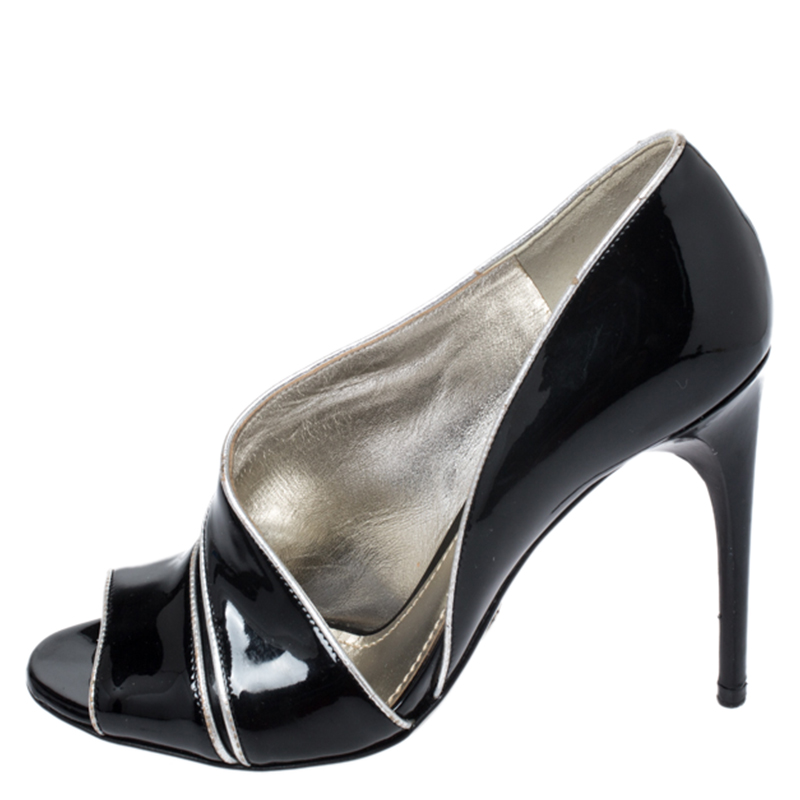 Dolce & Gabbana Black Patent Leather And Leather Piping Detail Peep Toe D'orsay Pump Size 36.5, Dolce and Gabbana  - buy with discount