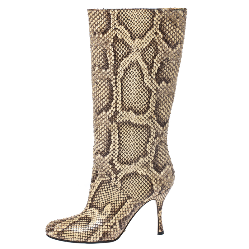 Dolce and Gabbana Multicolor Python Leather Mid Calf Slip On Boots Size