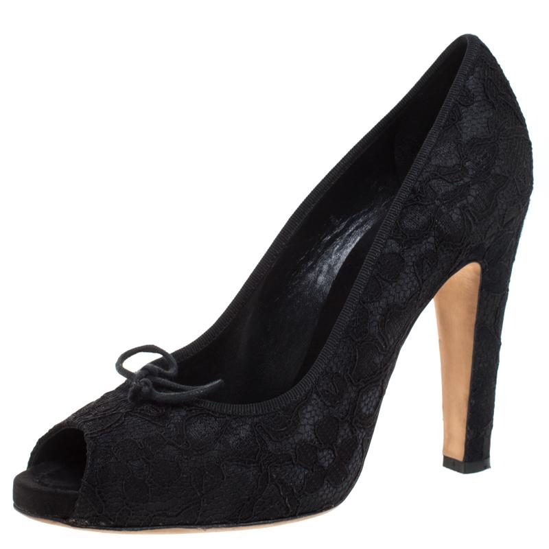 Dolce & Gabbana Black Lace Jubilee Bow Peep Toe Pumps Size 40