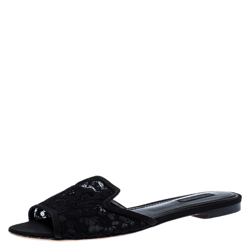 Dolce & Gabbana Black Floral Lace Open Toe Flat Slides Size 38