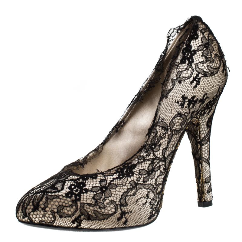 Dolce & Gabbana Cream Satin And Black Lace Platform Pumps Size 38.5