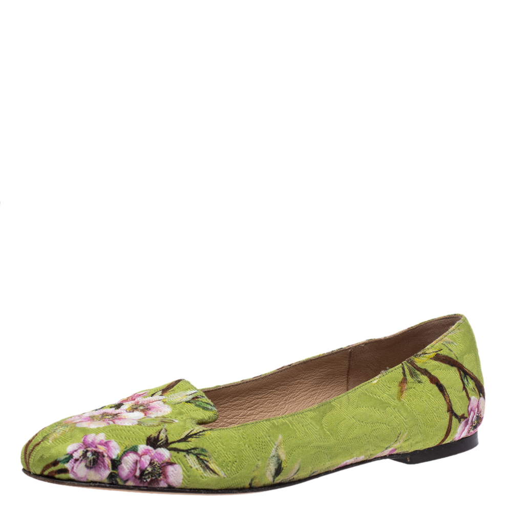 Pre-owned Dolce & Gabbana Multicolor Floral Print Brocade Flat Smoking Slippers Size 37