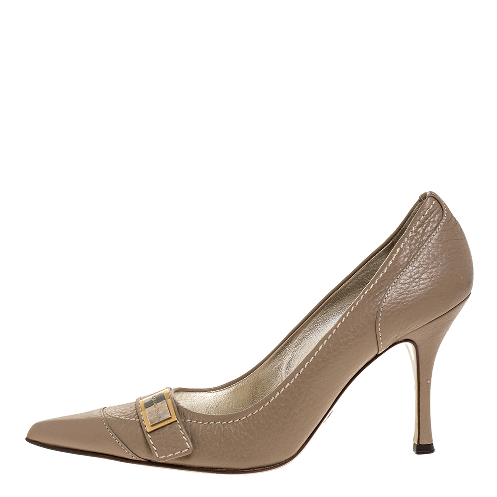 Dolce & Gabbana Beige Leather Pointed Toe Pumps Size 38, Dolce & Gabbana  - buy with discount