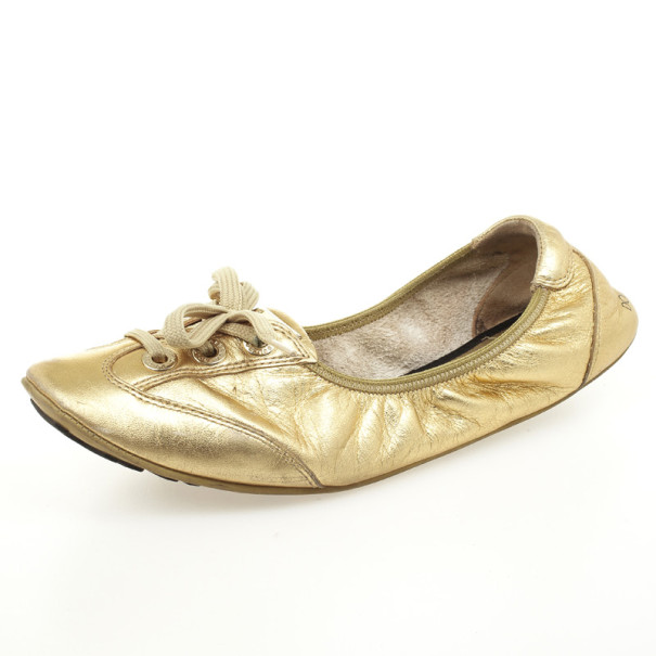 Dolce and Gabbana Gold Metallic Leather Lace Up Ballet Flats Size 38.5