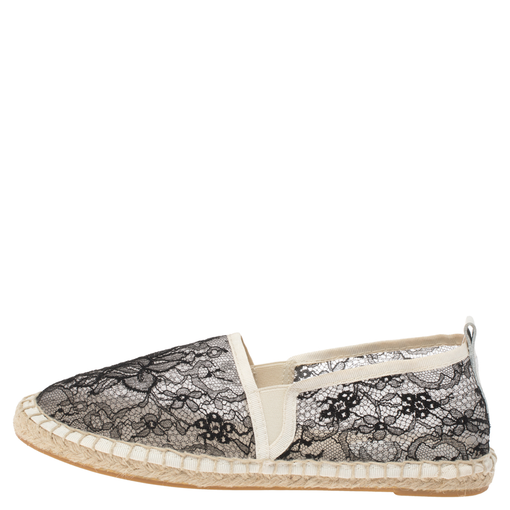 Dolce & Gabbana Black/White Lace Espadrille Flats Size 38, Dolce & Gabbana  - buy with discount