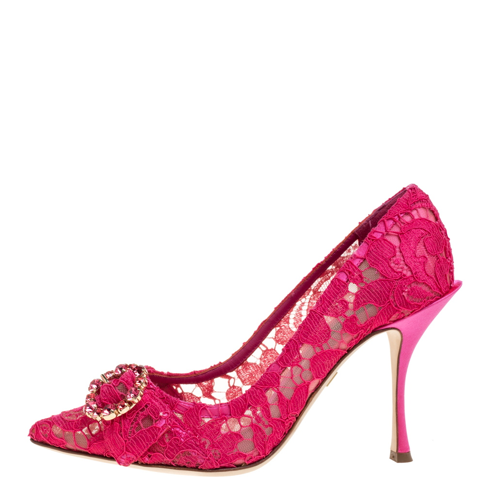 Dolce & Gabbana Pink Lace Crystal Embellished Decollete Pointed Toe Pumps Size 37, Dolce & Gabbana  - buy with discount