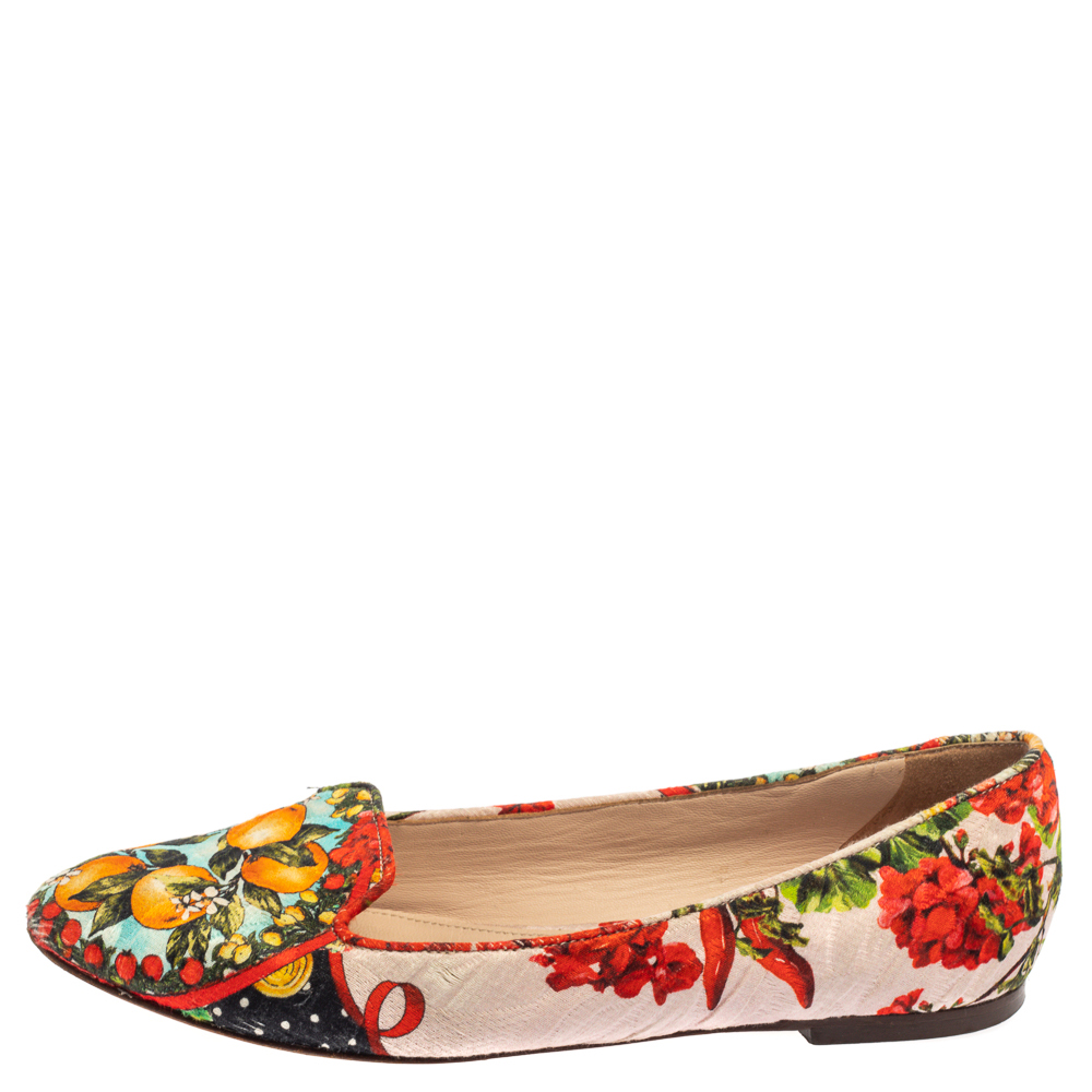 Dolce & Gabbana Multicolor Floral Print Brocade Fabric Smoking Slippers Size