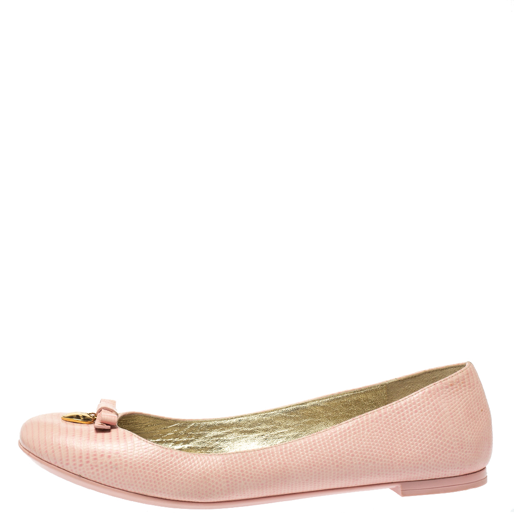 Pre-owned Dolce & Gabbana Dolce And Gabbana Pink Lizard Embossed Leather Bow Detail Ballet Flats Size 40