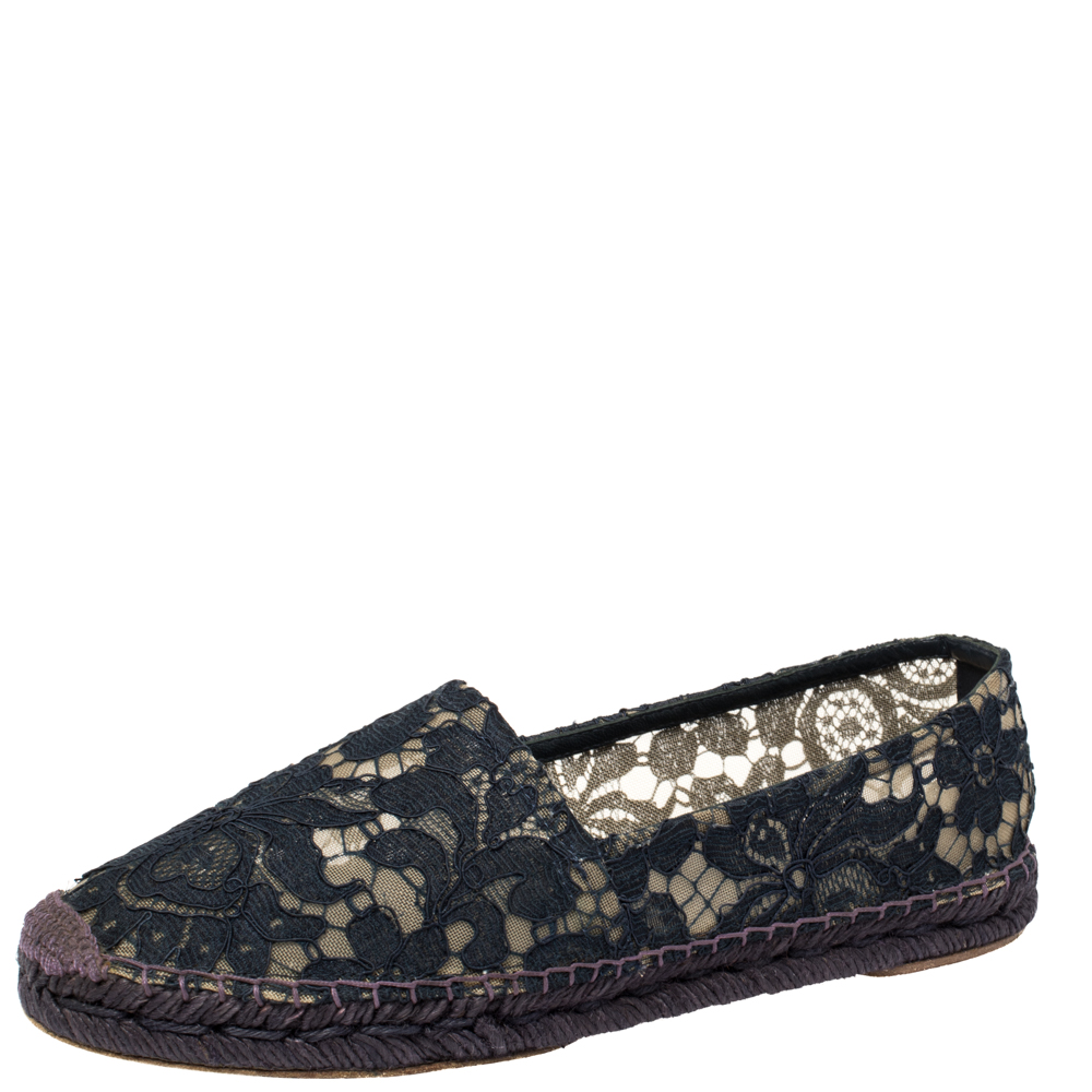 Pre-owned Dolce & Gabbana Blue Floral Lace Espadrille Flats Size 39