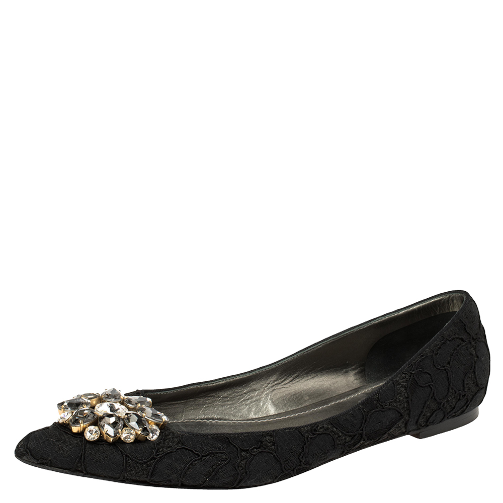 Pre-owned Dolce & Gabbana Black Lace Crystal Embellished Pointed Toe Flats Size 41