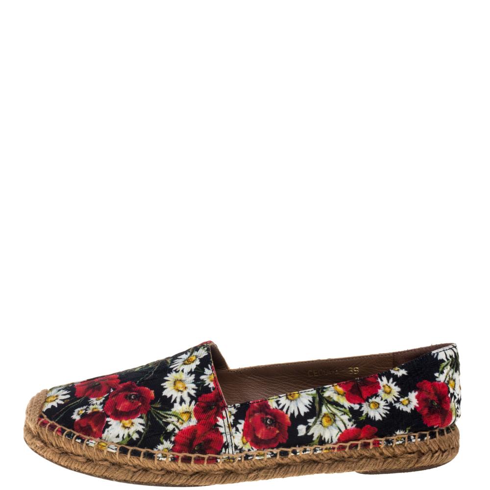 Dolce & Gabbana Multicolor Floral Print Canvas And Jute  Espadrilles Size 39