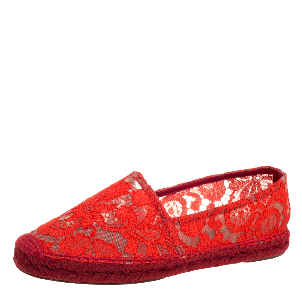 Pre-owned Dolce & Gabbana Red Lace Espadrilles Flats Size 40