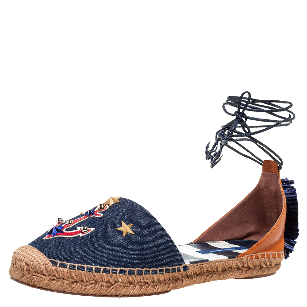 Pre-owned Dolce & Gabbana Blue/tan Denim And Leather Embellished Ankle Wrap Flat Espadrilles Size 41