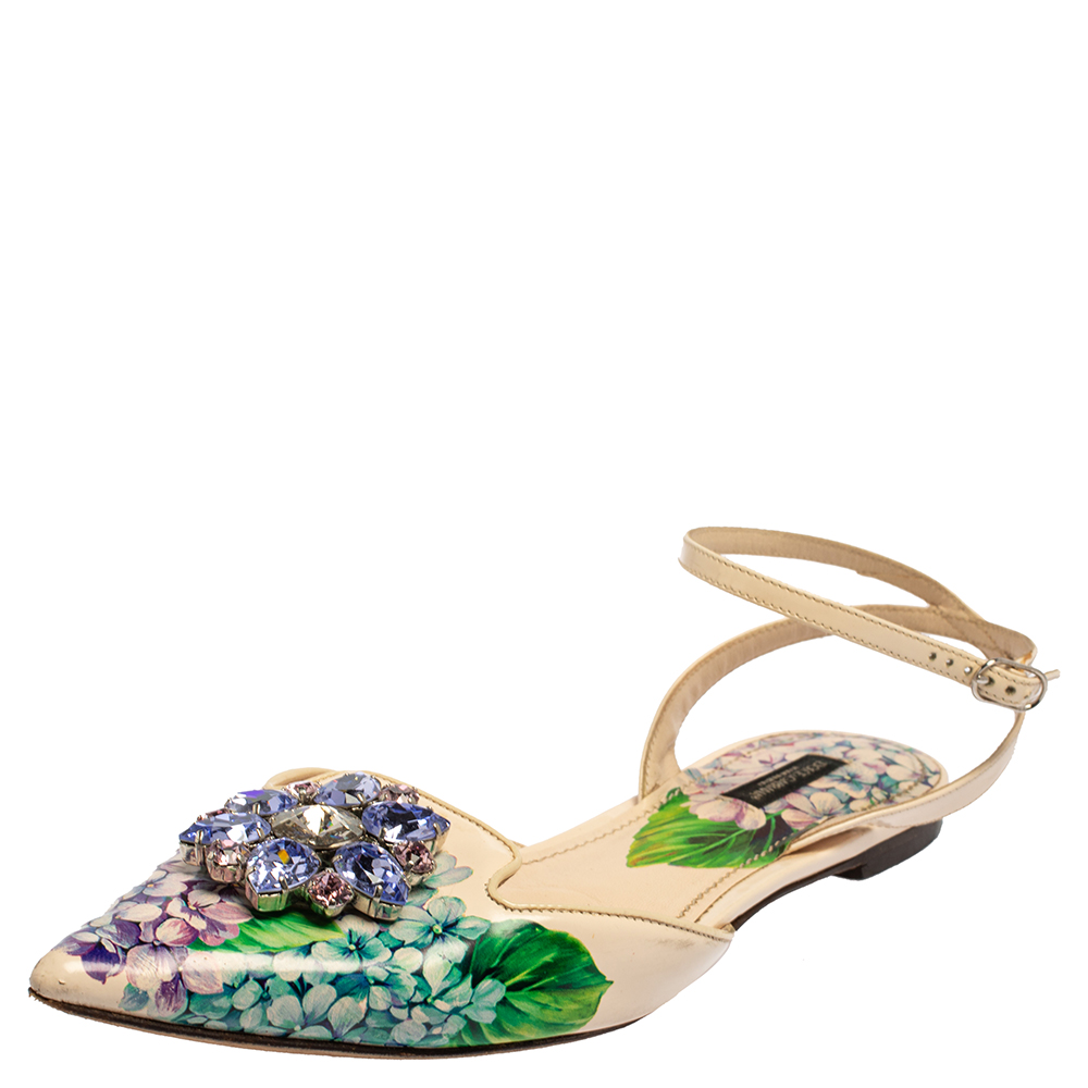 Dolce & Gabbana Multicolor Floral Print Patent Leather Crystal-Embellished Ankle-Strap Flats Size 40