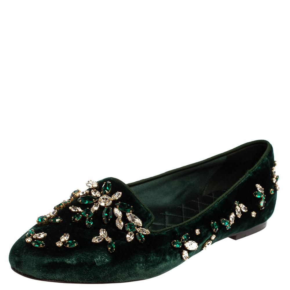 Pre-owned Dolce & Gabbana Green Velvet Crystal Velvet Loafers Size 38