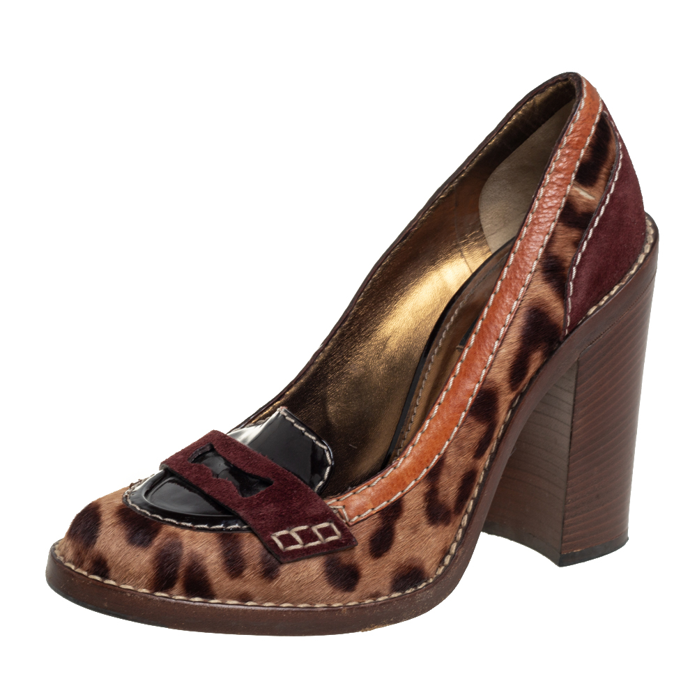 Pre-owned Dolce & Gabbana Tricolor Animal Print Calf Hair And Leather Loafer Pumps Size 38 In Multicolor