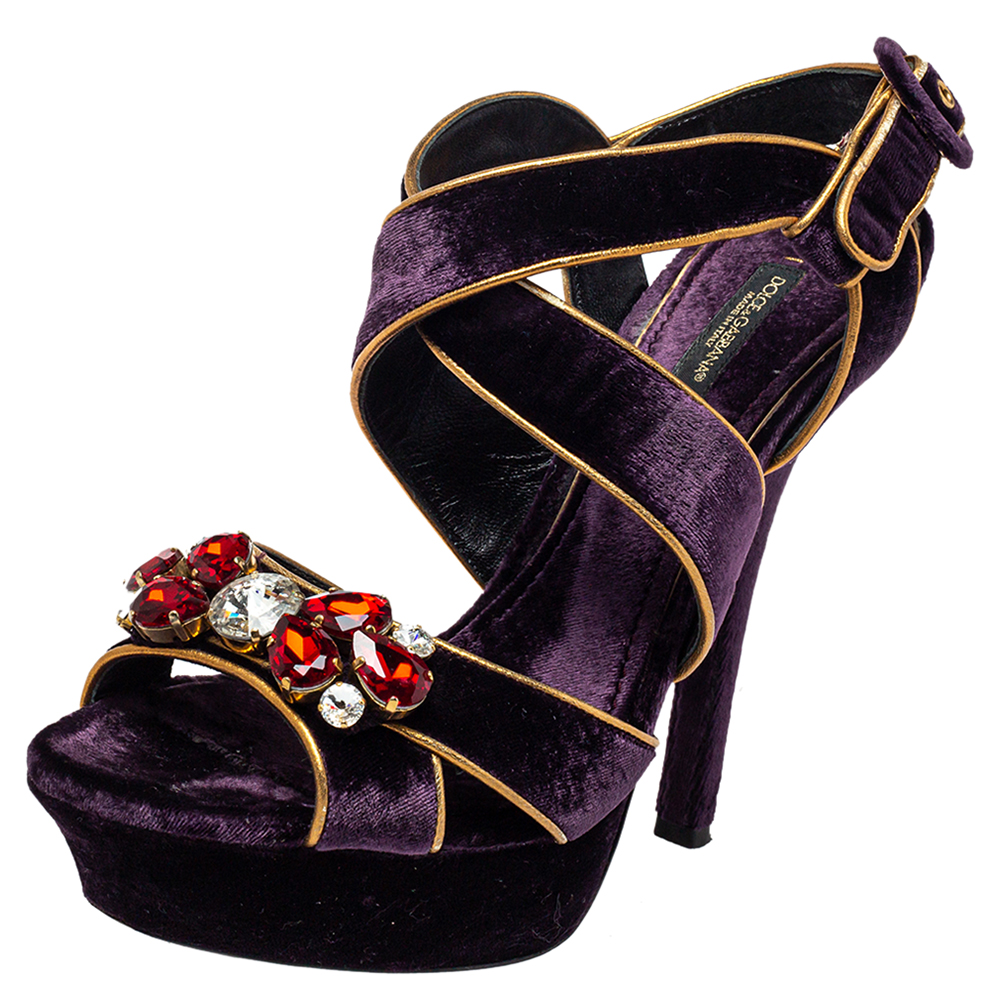 Pre-owned Dolce & Gabbana Purple Velvet And Leather Crystal Embellished Sandals Size 39