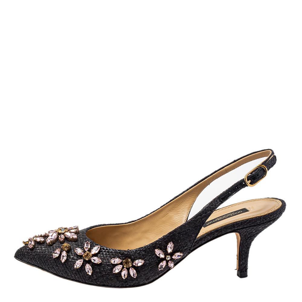 Dolce & Gabbana Black Leather Embellished Slingback Pumps Size 36