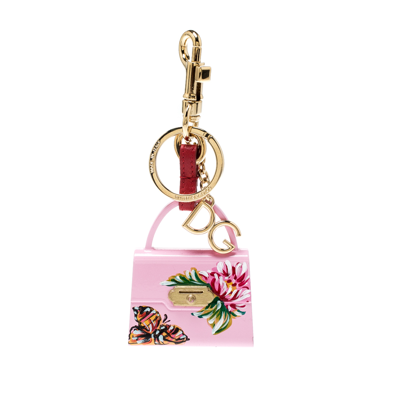 Dolce and Gabbana Pink Hand Painted Bag Charm Gold Tone Key Ring / Bag Charm