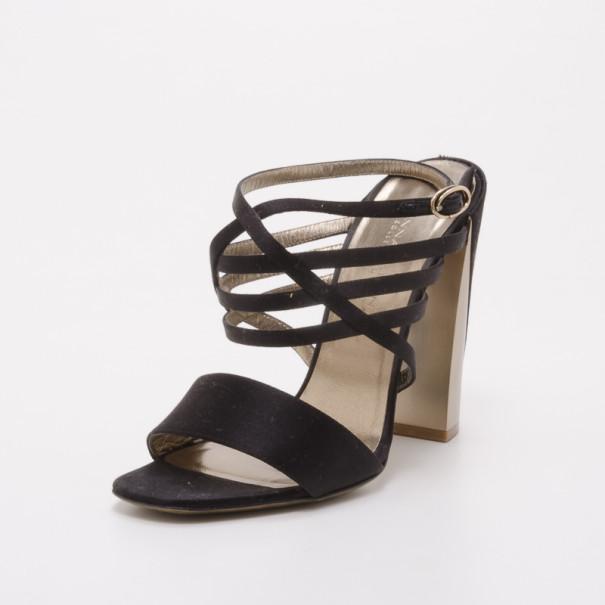 Donna Karan Collection Black and Gold Platform Sandals Size 37