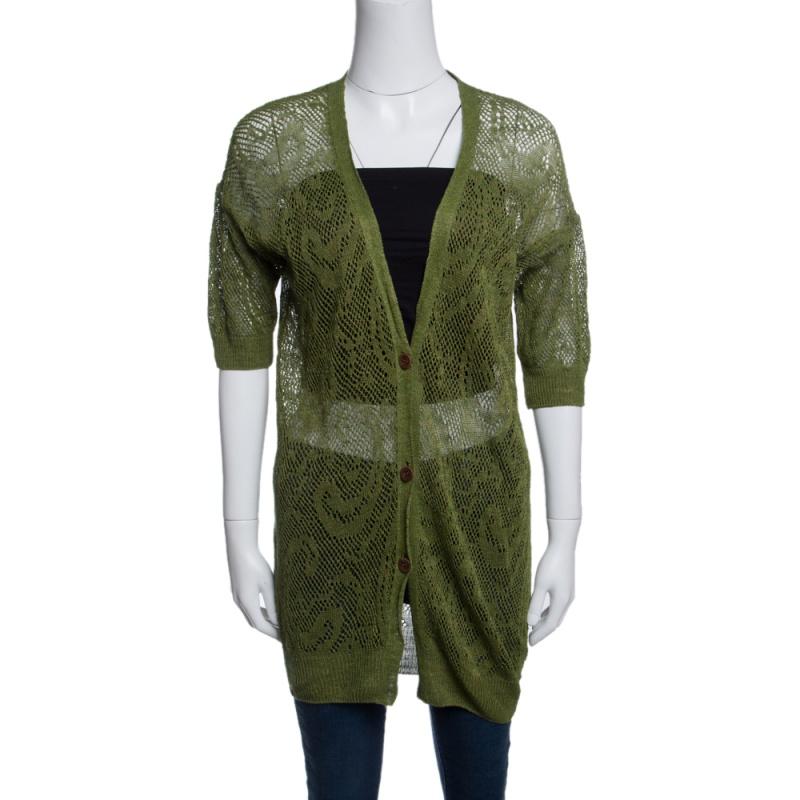 Dries Van Noten Green Perforated Knit Short Sleeve Cardigan S