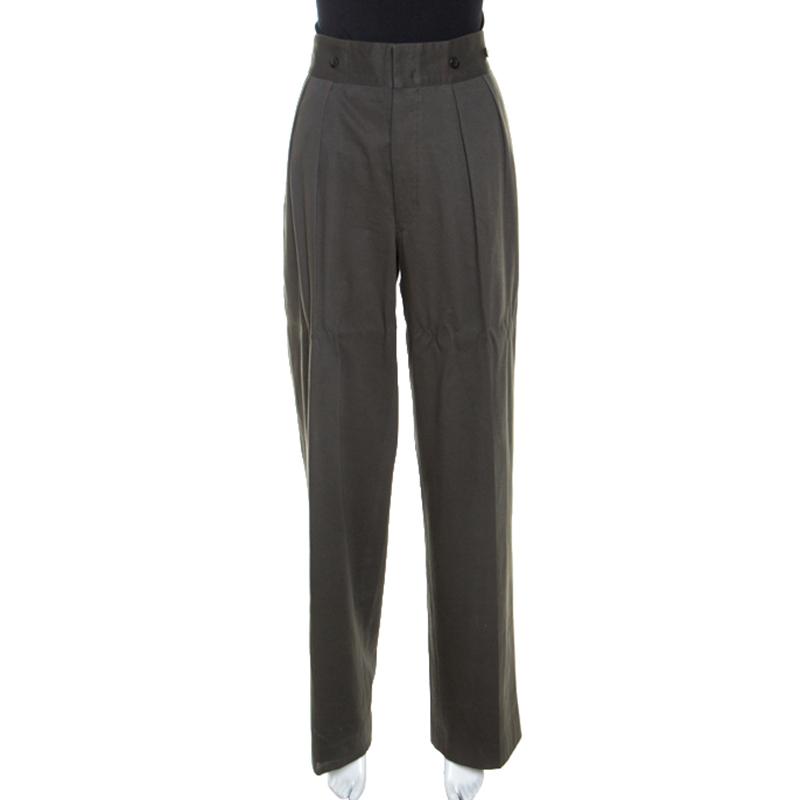 Dries Van Noten Khaki Green Cotton Buckle Detail Wide Leg Trousers L