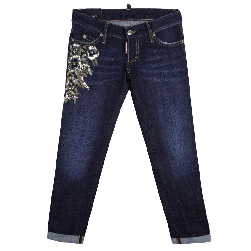 Купить со скидкой Dsquared2 Indigo Dark Wash Denim Floral Embellished Skinny Jeans S