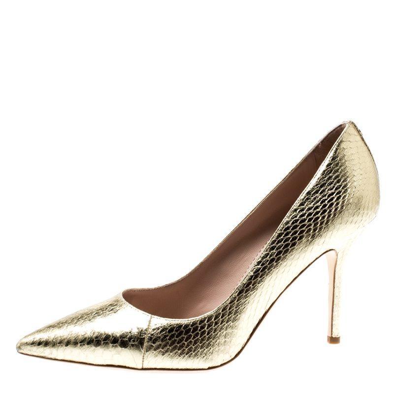 Dsquared2 Metallic Gold Snakeskin Leather Pointed Toe Pumps Size 39