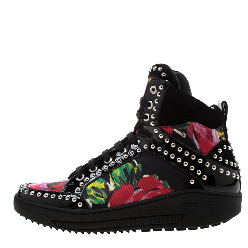 Dsquared2 Multicolor Floral Print Canvas And Patent Leather Studded High Top Sneakers Size, Black