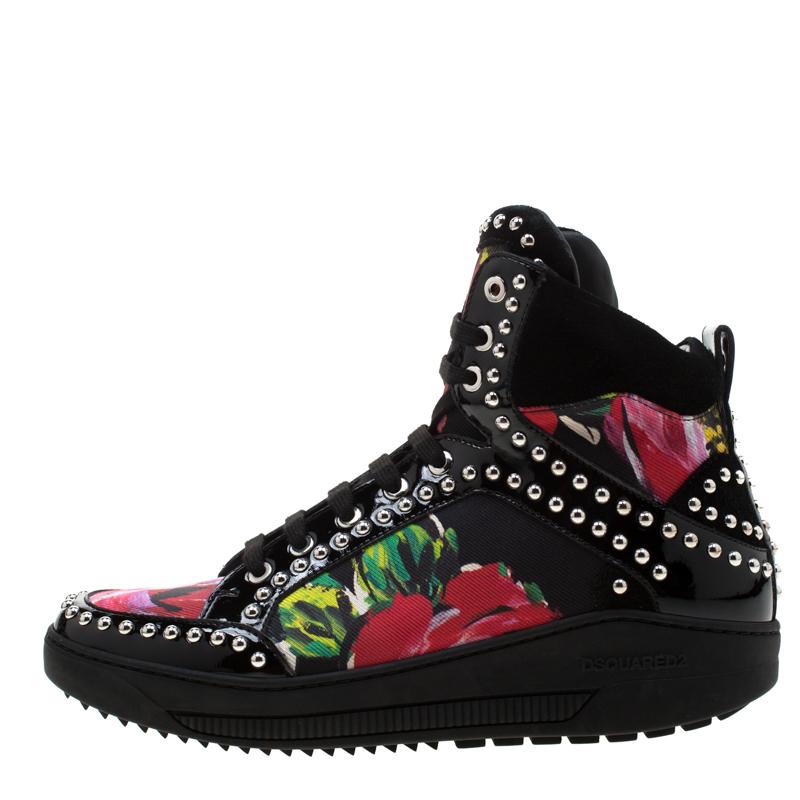 Dsquared2 Multicolore Imprimé Floral Canvas Et Cuir Verni Clouté High Top Baskets Taille 38