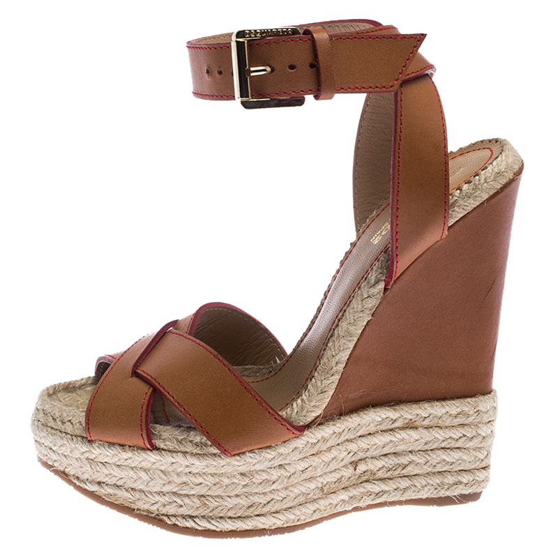 Dsquared2 Brown Leather Wedge Espadrille Sandales À Plateforme Taille 37