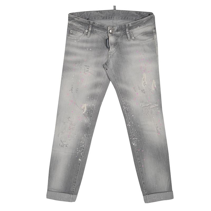 Купить со скидкой Dsquared2 Grey Faded Effect Splattered Distressed Cuffed Jeans S