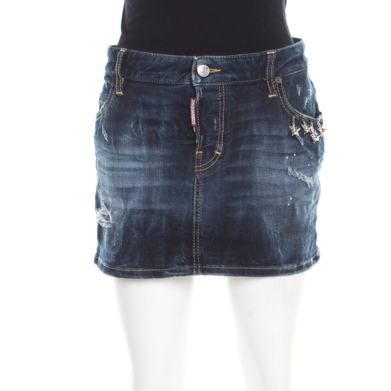 dd919711a62 ... Dark Wash Faded Effect Distressed Denim Mini Skirt M. nextprev. prevnext